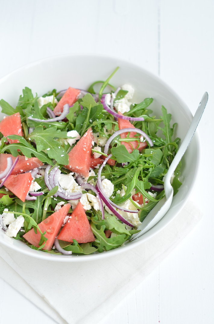 Watermeloen feta salade