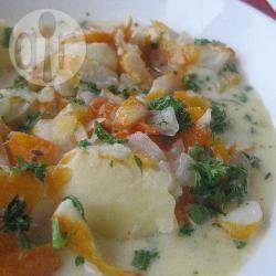 Romige soep met gerookte schelvis recept