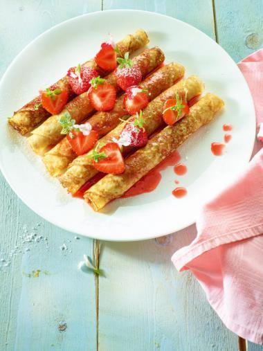 Recept 'pannenkoeken met aardbeien'