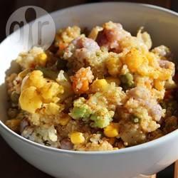 Quinoa bowl met kerrie-bloemkool en erwtjes recept