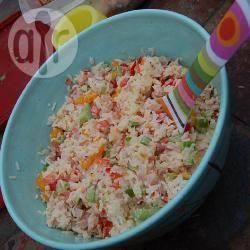 Rijstsalade met mandarijntjes, ham en paprika recept