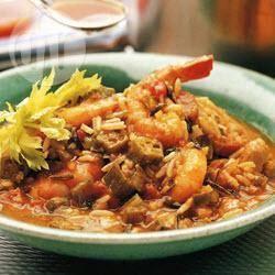 Creoolse gumbo met kip en garnalen recept