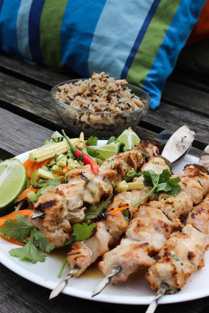 Recept 'thaise kipsatés met groentjes en rijst'