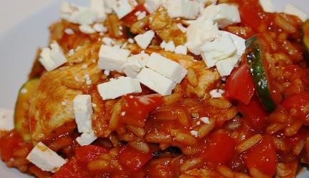 Grieks kip pannetje met tomatenrijst (slank) recept