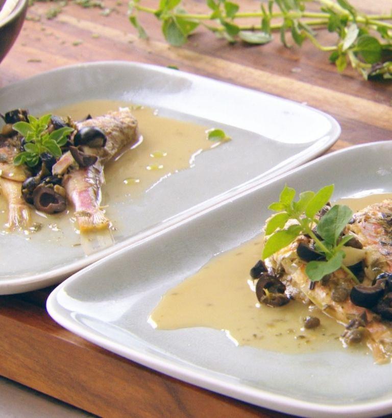 Recept 'zeebarbeel met insalata pantesca'