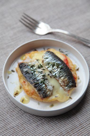 Recept 'taartje met sardines'