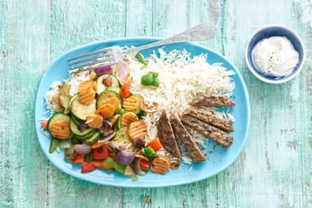 Gekruide rundersteak de boeuf met franse roerbakgroente en rijst ...