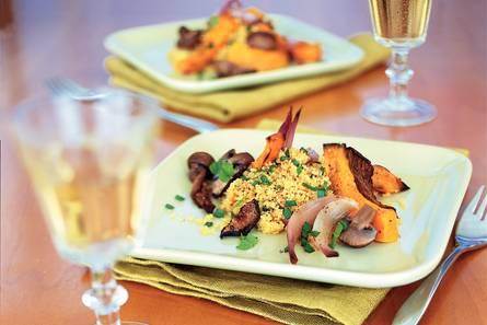 Couscous met geroosterde pompoen en paddenstoelen