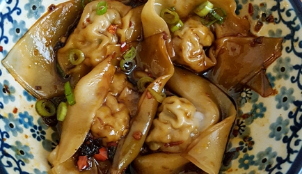 Sichuanese wontons in chili-olie saus recept