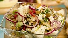 Berggeitenkaas salade met peer en vijgen recept