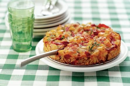 Spaanse aardappeltortilla met bacon