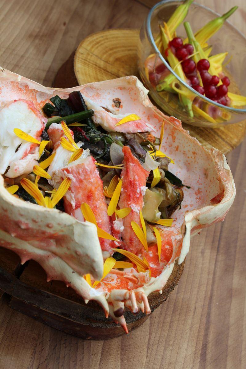 Recept 'kingkrab met jonge groentjes'