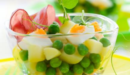 Aardappelsalade met doperwtjes en ei recept