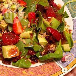 Salade met framboos en walnoot recept