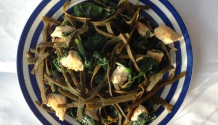 Zeewier pasta met kip &; spinazie recept