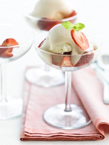 Recept 'aardbeien met sabayon van frambozenbier'