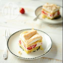 Aardbeien-kaastaart met meringue recept