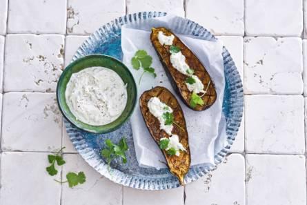 Geroosterde indiase aubergine met yoghurt