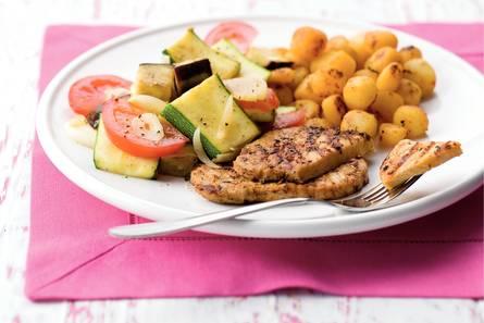 Mediterrane filetlapjes en groenten met krieltjes