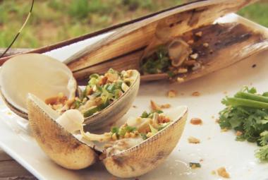 Recept 'vietnamese schelpen met lente-ui olie'
