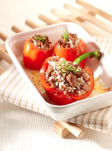Recept 'gevulde tomaten en paprika's'