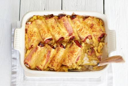 Witlof met ham, kaas en mosterdpuree