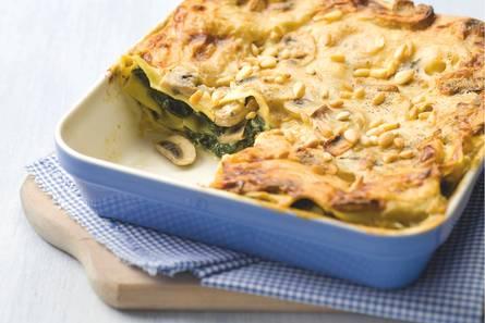 Lasagne met champignons en spinazie