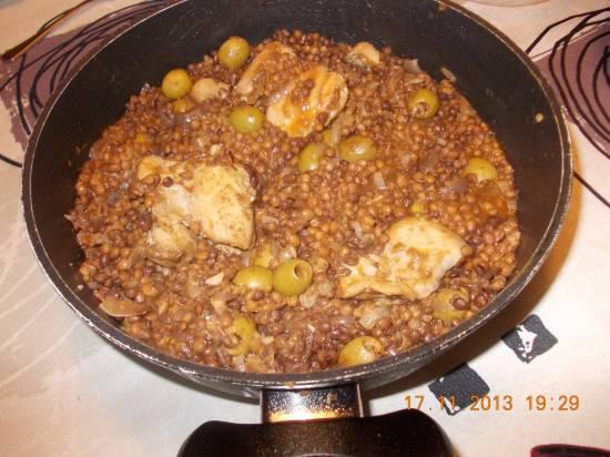 Oosters gekruid stoofpotje van linzen en kip recept