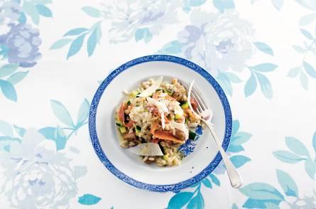 Risotto met ham en champignons
