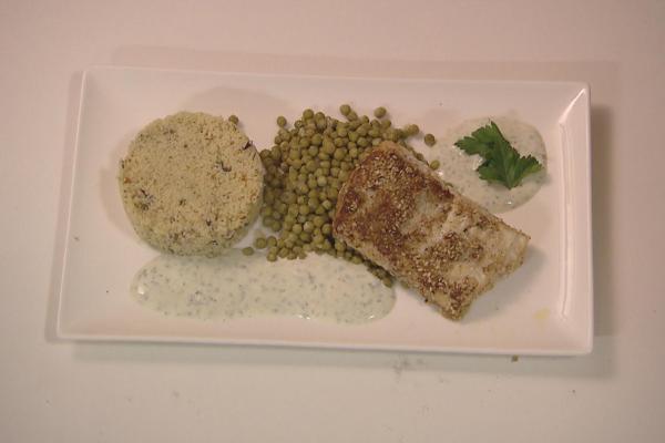 Zeebaars met sesamkorst en quinoa