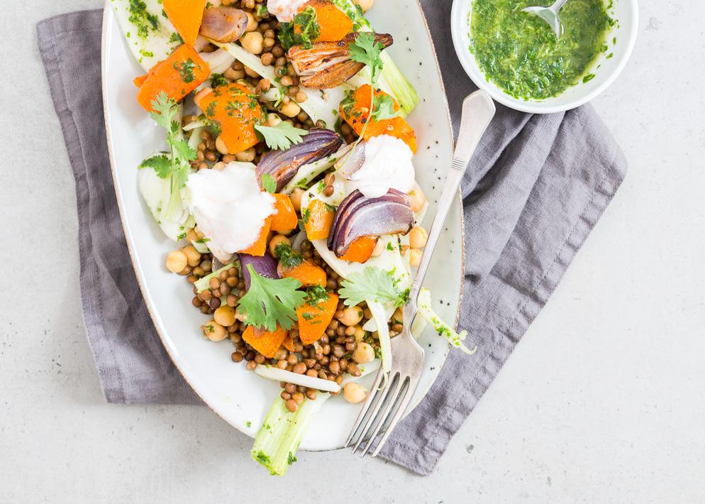 Salade met geroosterde pompoen van donal