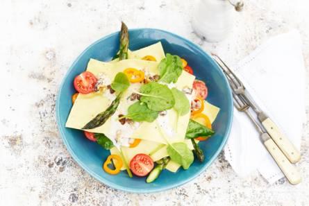 Open lasagne met asperges & blauwaderkaas