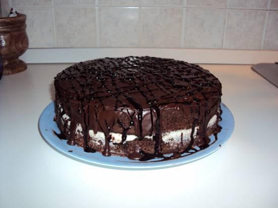 Duivelse chocoladetaart met witte chocoladevulling en cacaog ...