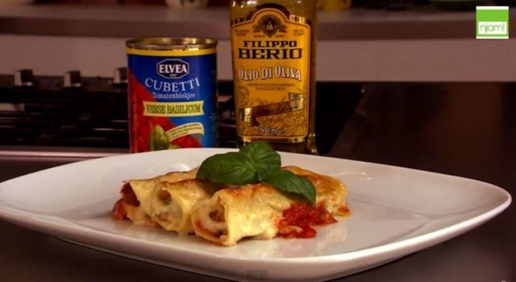 Recept 'cannelloni met spinazie en gehakt'