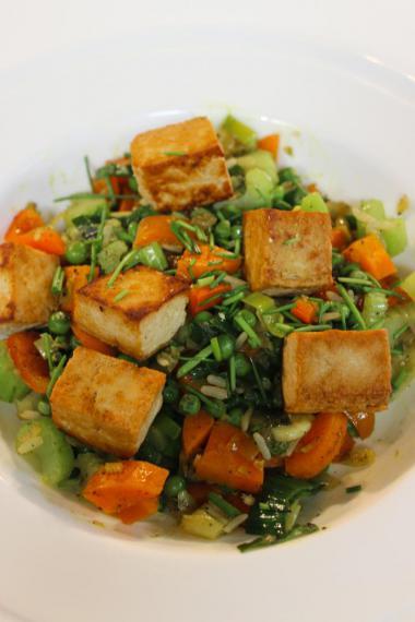 Recept 'rijstschotel met tofu en gember'