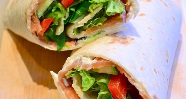 Lunch wrap met zalm en roomkaas