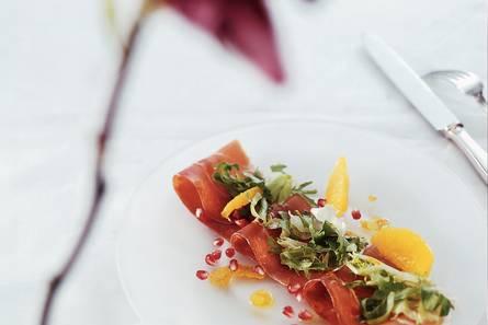 Serranoham met granaatappelsalade
