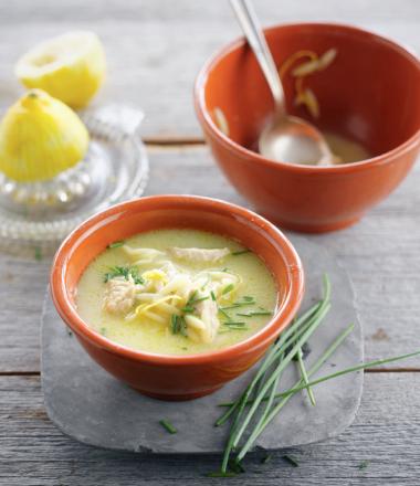 Recept 'citroensoep met kip en pasta'