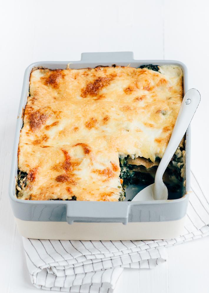 Witte boerenkool lasagne met bechamelsaus