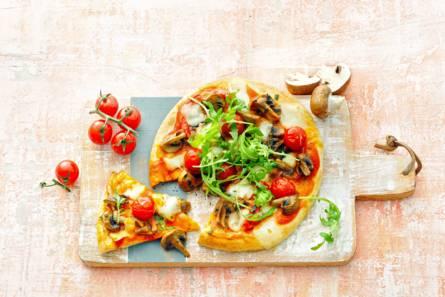 Bloemkoolpizza's met paddenstoelen