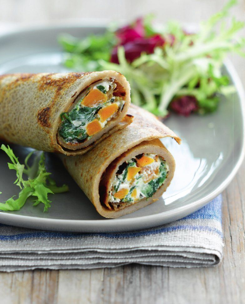 Recept 'boekweitpannenkoek met spinazie, pompoen en ricotta ...