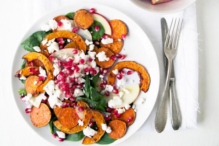 Herfstige salade met zoete aardappel, pompoen en geitenkaas ...