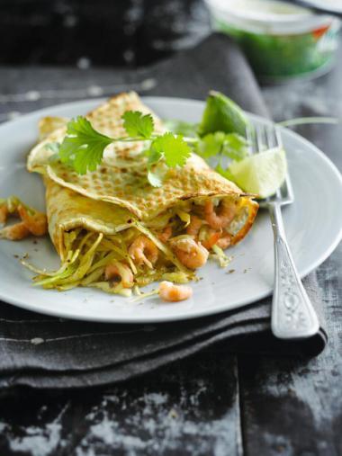Recept 'hartige garnalenpannenkoeken'
