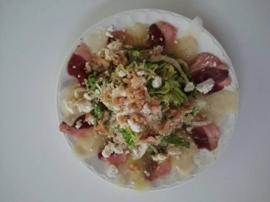 Salade van gerookte eendeborst en peer recept