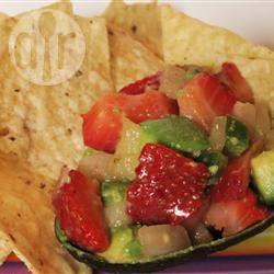 Salsa van avocado en aardbei recept