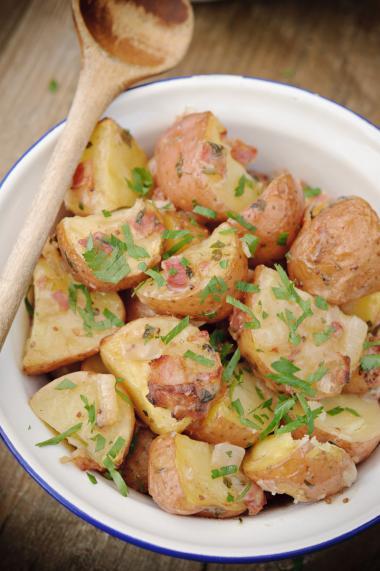 Recept 'warme aardappelsalade uit de oven'