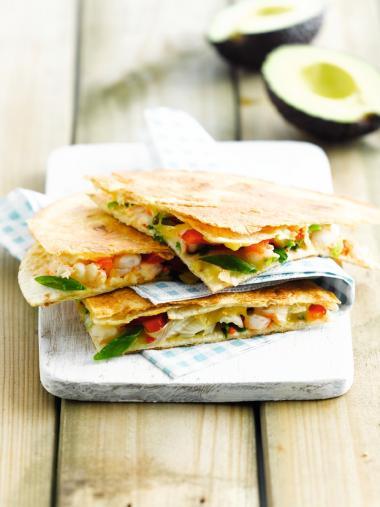 Recept 'hot tortillaflapjes met scampi'