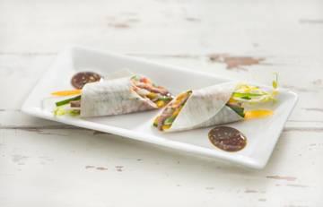 Spring rolls met groenten,gebakken eend en japanse dressing ...
