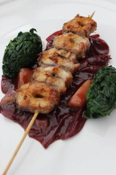 Recept 'palingspiesjes in rode wijnsaus'