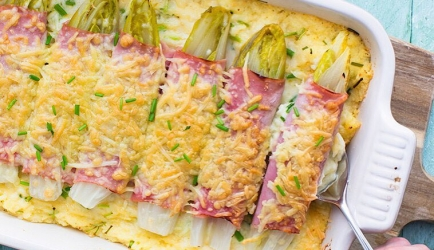 Ovenschotel witlof, ham, kaas, romige puree, bieslook recept ...